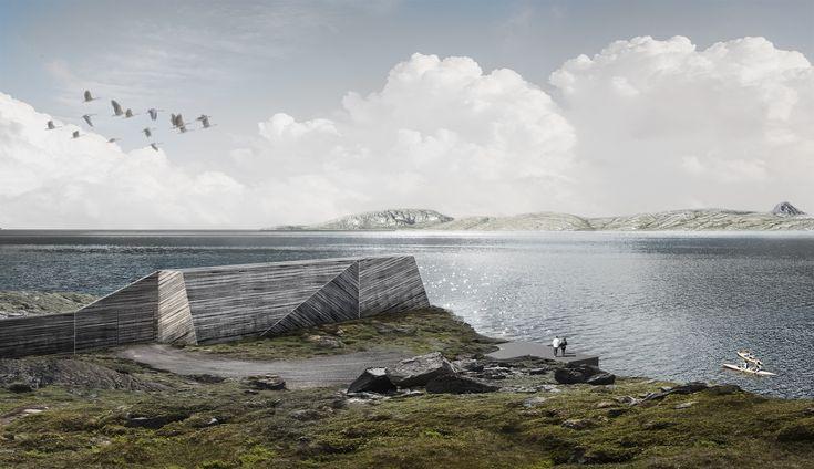 I innseilinga til #Bodø skal #støyskjermen definere et skille mellom bolig- og #industriområdet på #Langstranda. På den ene siden ligger blokkbebyggelse, på andre siden ligger en av byens siste industriområder. Skjermen fungerer som #containerlager og har  #kledning i #tre som er lagt i forskjellig retning. #arkitektur #architecture #wood #shelter #rendering #water #simplestructure