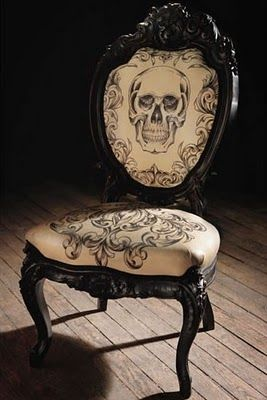 I think this chair is beautiful, and it needs a remake...I don't like the Goth Look....Except in dress, and makeup....