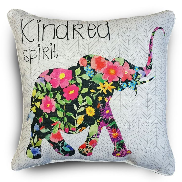 International Edith Elephant Floral Throw Pillows