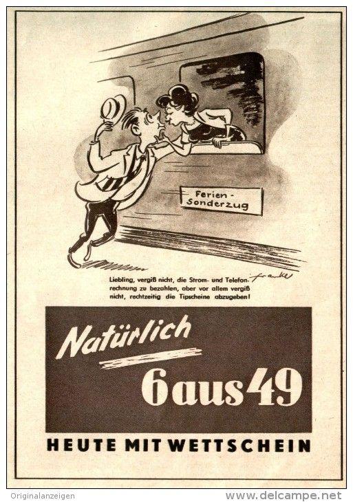 Original-Werbung/ Anzeige DDR 1957 - LOTTO 6 AUS 49 - ca. 120 x 160 mm