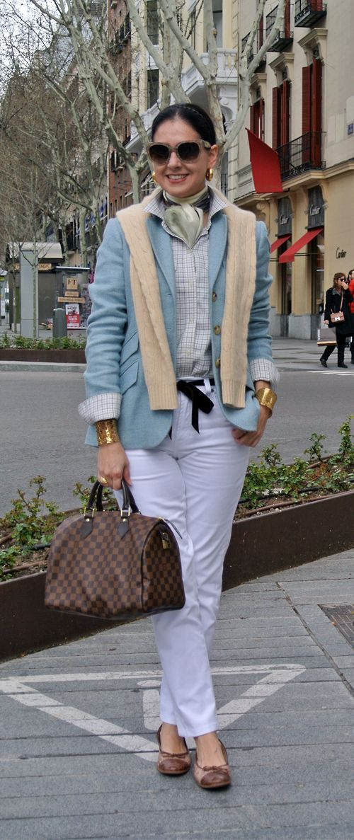 April 16, 2013 http://www.akeytothearmoire.com/post/48117742350/baby-blues #baby blue #pale blue #pastel #yellow #white #white jeans #velvet ribbon #bow belt #silk scarf #crocodile ballerina flats #Madrid #Spain #pierced cuff #braid #headband #chic #preppy #classic #elegant #casual #feminine #work appropriate #professional #plaid #Prada #Ralph Lauren #Louis Vuitton #Speedy 30 #Echo #Gravati