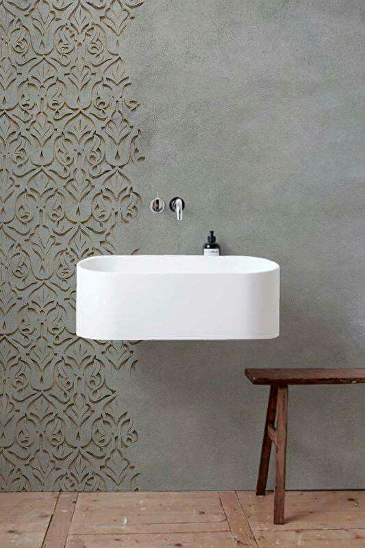 Industrial cement wall in bathroom Beautiful stencil ☆