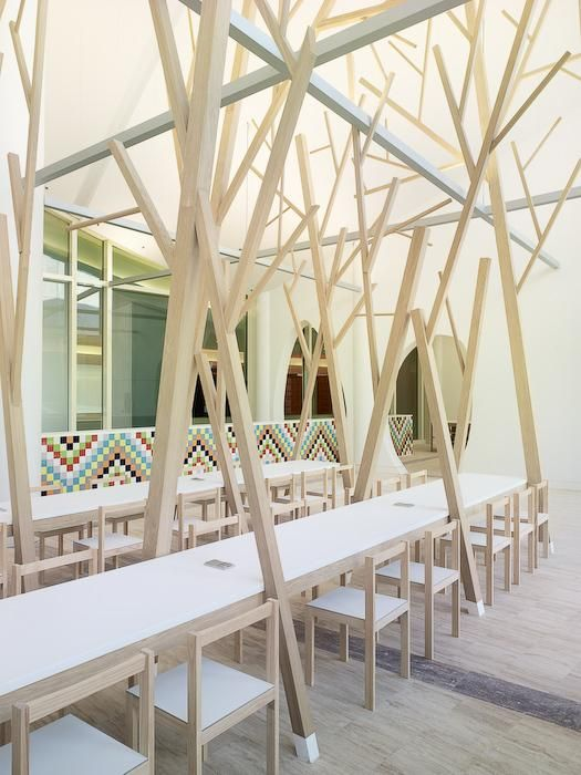 Remodelista, Estudio Nomada, Cidade da Cultura de Galicia, abstract forest of trees, wall of colored tiles