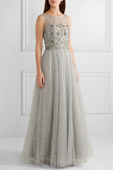 Marchesa Notte - Embellished Tulle Gown - Silver - US14