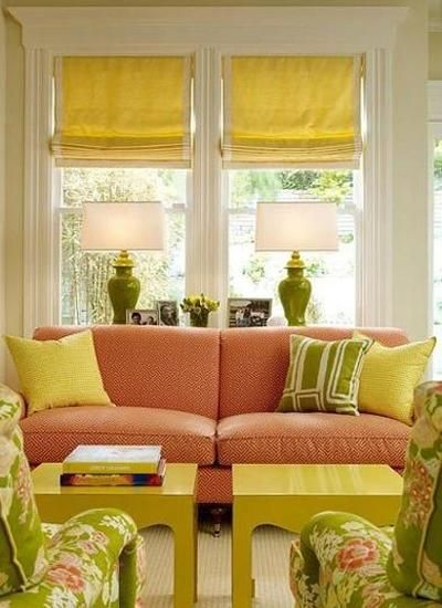 modern interior decorating with yellow and green colors