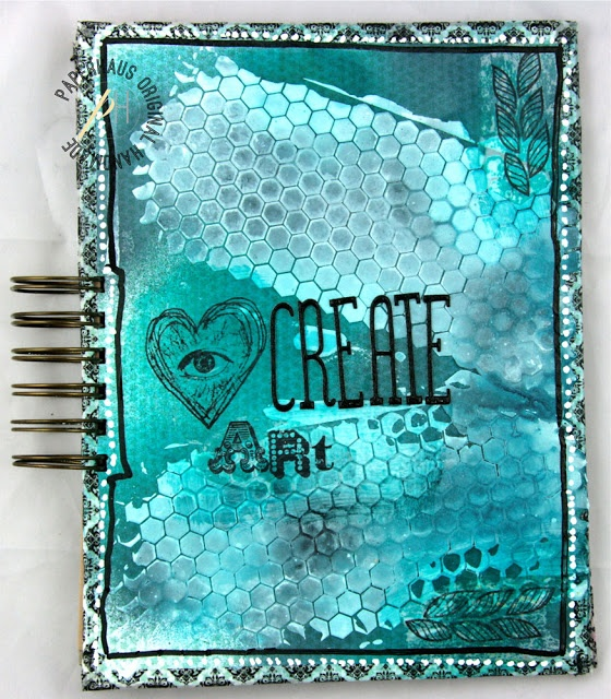 """Art journal by amazing artist Linda Brun. She used 3rd Eye stamps here :) """"TES-018 see with the heart"""" and """"TES-019 braid""""."""