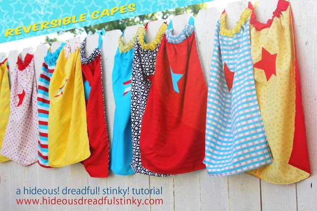 Hideous! Dreadful! Stinky!: Reversible Cape Tutorial for Capes for Kids Collar gets pulled thru a casing at top. Lots of photos in tutorial