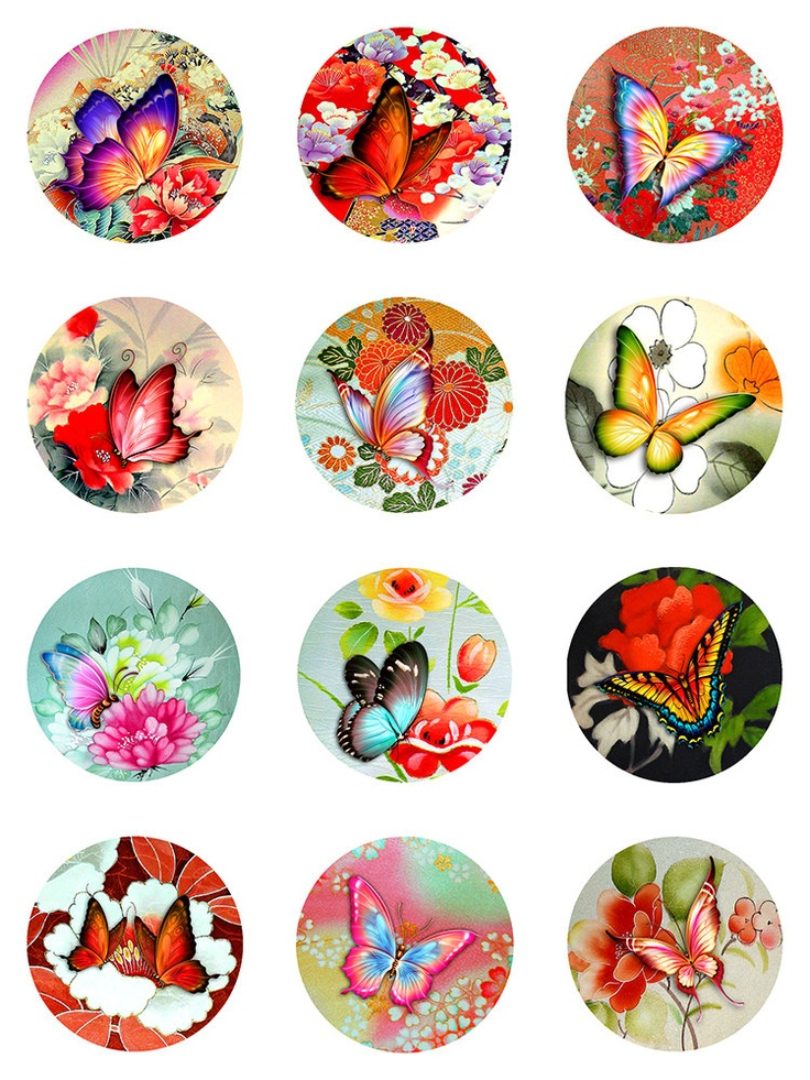 Butterflies Asian Florals Collage Sheet Digital Images 2 inch
