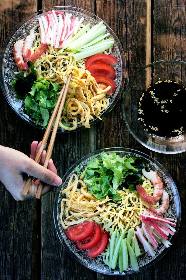 Hiyashi Chuka = Japanese Cold Noodle  Salad