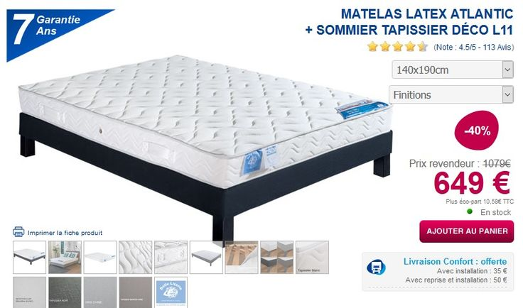 Matelas latex ATLANTIC + Sommier Tapissier Déco L11 MaLiterie