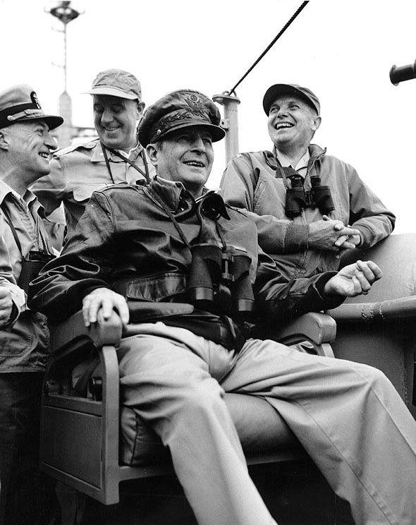 Courtney Whitney, Douglas MacArthur, and Edward Almond aboard AGC Mount McKinley during the Inchon landings, 15 Sep 1950, photo 1 of 2