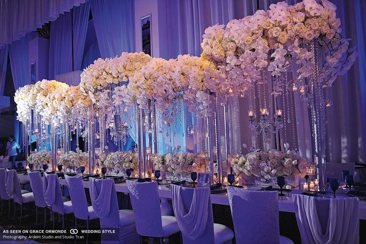 luxurious wedding reception table and floral decor idea with orchids
