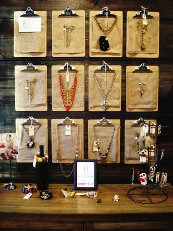 Clipboards are a stylish, artful way to display your coolest statement necklaces.
