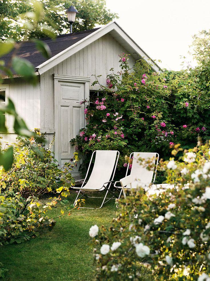 Den här vackra trävillan omges av hundratals rosor och är en riktig sommardröm!  Styling: Emma Persson Lagerberg Foto: Petra Bindel