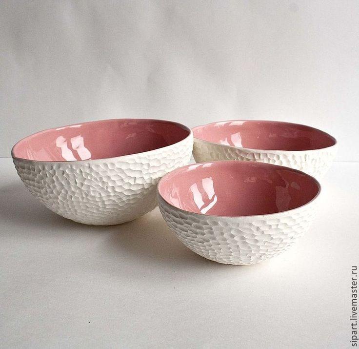 """Купить Комплект вазочек """"Розовые моллюски"""" - бледно-розовый, кремовый, керамика ручной работы"""