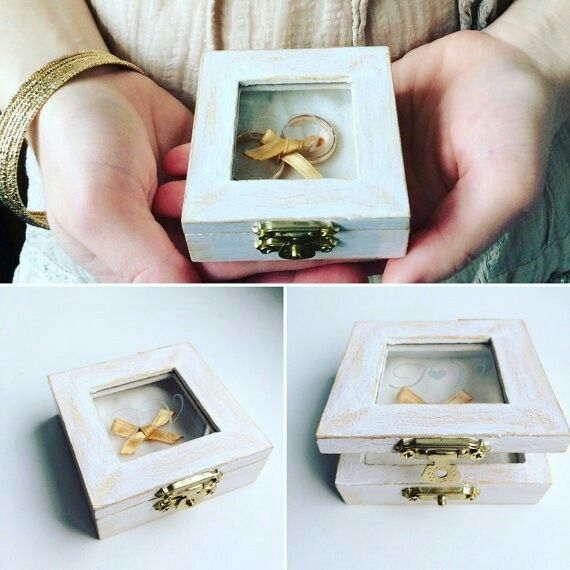 Wooden wedding ring box with engraved initials, vintage, rustic chic wedding, handmade, white and gold, Engagement box, Personalized https://www.etsy.com/listing/268855981/wooden-wedding-ring-box-with-engraved