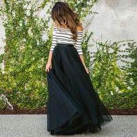Wish | Newly Fashion Fashion Women Sexy Off-shoulder Striped High Waist Tutu Ball Skirt + Tops Long Dress Sets