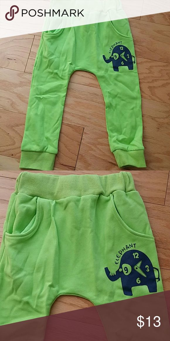 NWOT green elephant's harem pants Adorable and comfortable jogger pants in green with cute  clock elephant design.  This item is brand new and never used Bottoms Sweatpants & Joggers