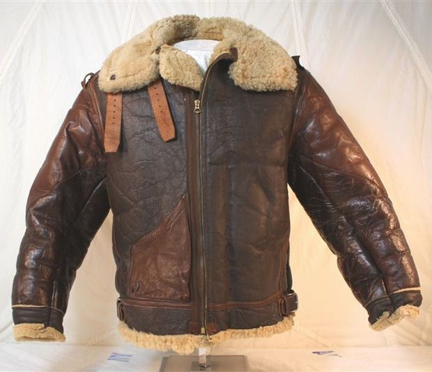 HISTORY OF THE BOMBER JACKET #12 Shown above is another example of the B-3 jacket. This particular model has the more desired 2 tone leather for the pocket, trim and added shoulder pieces