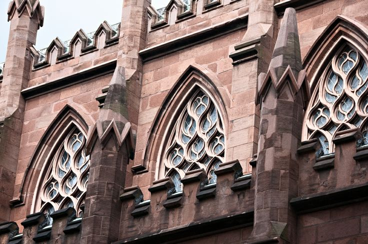 windows and tracery, St. Ann and the Holy Trinity Episcopal Church (1847), 157 Montague Street, Brooklyn Heights, New York