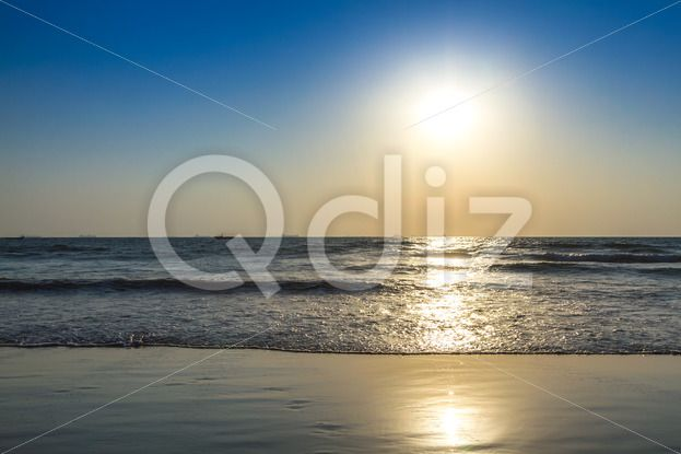 Qdiz Stock Photos | Sunrise at sea beach,  #arabian #aurora #beach #coast #coastline #dawn #day #goa #horison #india #mood #morning #ocean #reflection #sand #sea #seascape #shoresunrise #Sun #tranquility #wave #wet
