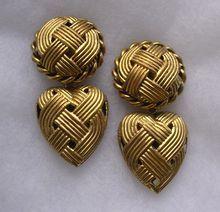Large Butler & Wilson Puffy Heart Pendant Earrings