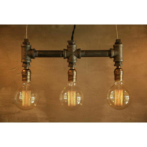 3 Bulb Globe Style Edison Bulb Iron Pipe Pendant Lamp Urban Industrial... ($98) ❤ liked on Polyvore featuring brown, chandeliers & pendant lights, home & living and lighting