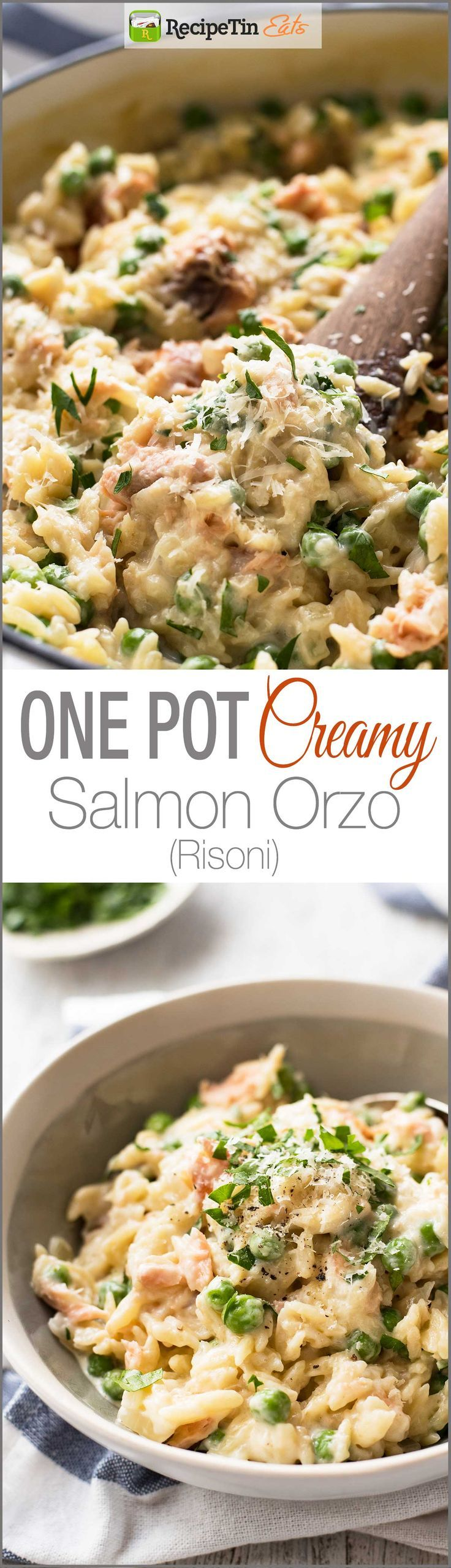 Creamy Salmon Risoni / Orzo - Made from scratch, and on the table in just 15 minutes!