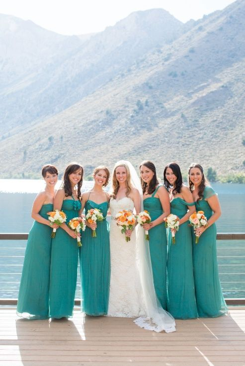 I think the dark teal is perfect for my early Fall wedding with accents of tangerine and gold give it a romantic touch!