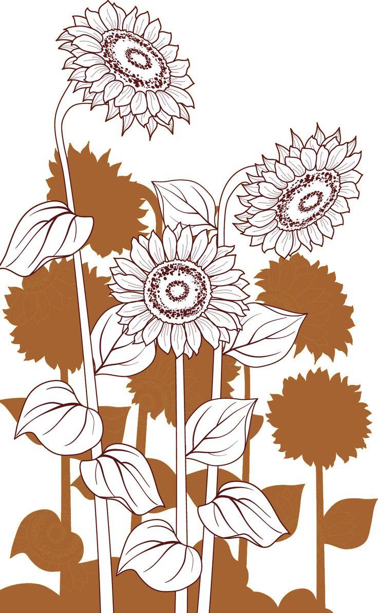 白黒の花のイラスト,ひまわり・白・影