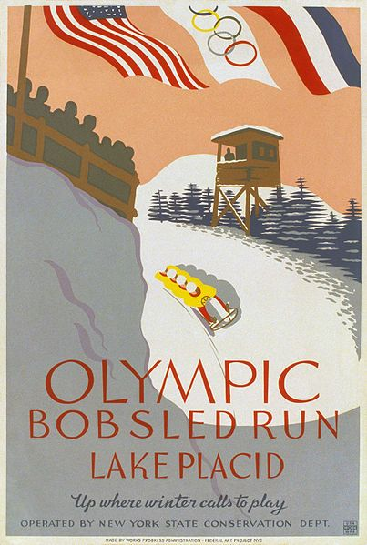"""""""Olympic bobsled run, Lake Placid Up where winter calls to play."""" Poster promoting winter sports, showing four man bobsledding on bobsled run"""