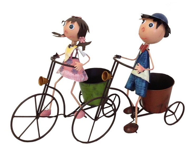 Girl and boy on bicycle pot plant holder