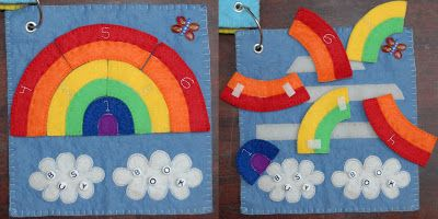Rainbow busy book (quiet book) page.  Rainbow puzzle pieces velcro on and off.
