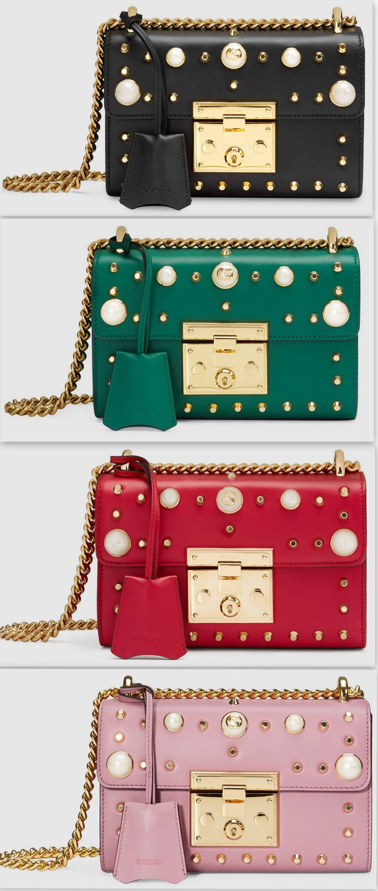 Padlock Pearl Studded Leather Shoulder Bag - (Various colors to choose from)