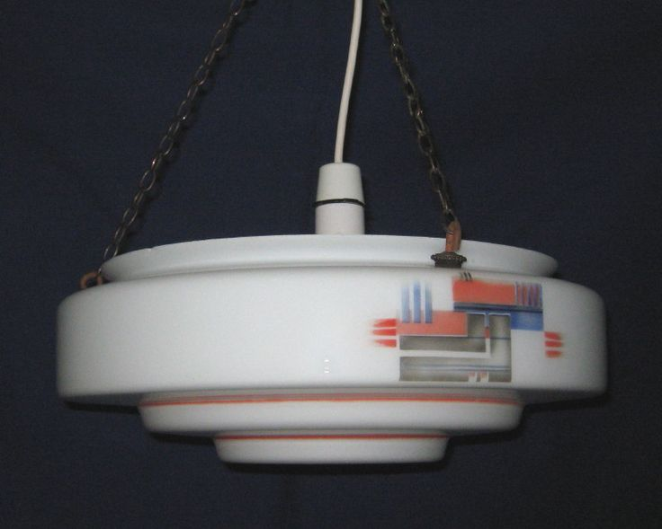Art Deco vintage large stepped opal glass hanging bowl lampshade / light shade with Cubist transfer pattern (c.1930s) (SOLD) - www.vanishederas.com