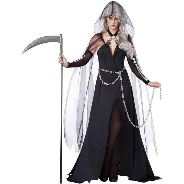 Lady Grim Reaper Scary Costume (€30) ❤ liked on Polyvore featuring costumes, halloween, costume, halloween costumes, sexy halloween costumes, party costumes, sexy womens halloween costumes, grim reaper costume and ladies costumes