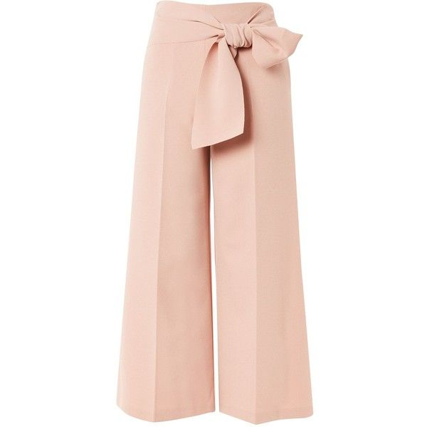TopShop Tie Crop Wide Leg Trousers ($85) ❤ liked on Polyvore featuring pants, capris, trousers, nude, tie belt, cropped trousers, pleated pants, pink pants and topshop trousers