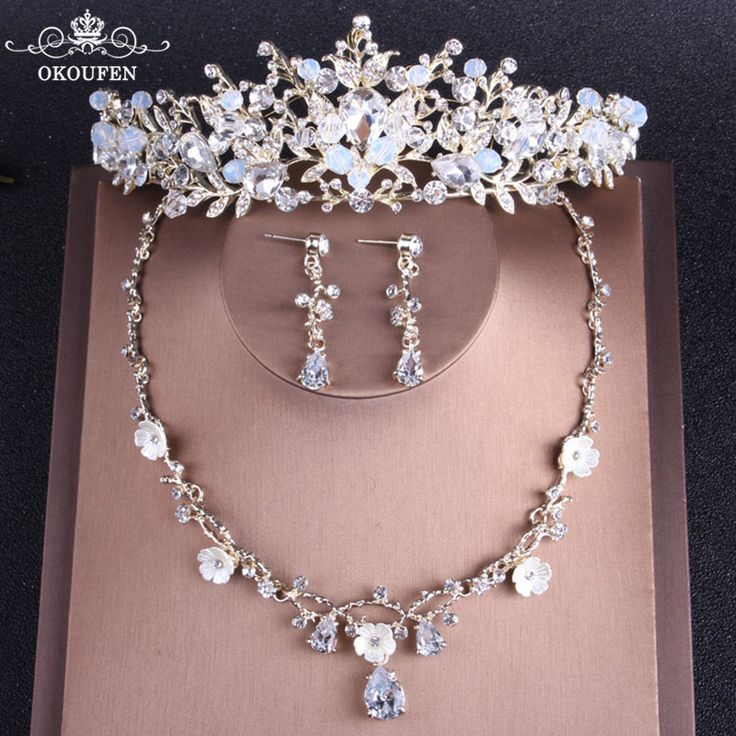 Frauen Haar Tiaras Prom Hochzeit Kronen Set Halskette Ohrringe 2018 Luxus Perlen Kr …   – crown
