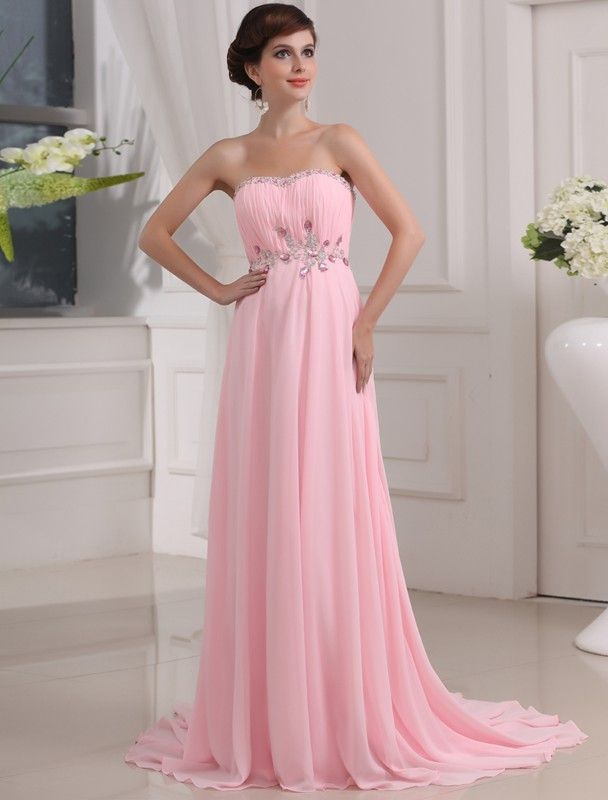 A-Line/Princess Beading Sleeveless Strapless Sweep/Brush Train Chiffon Dresses DressyWell