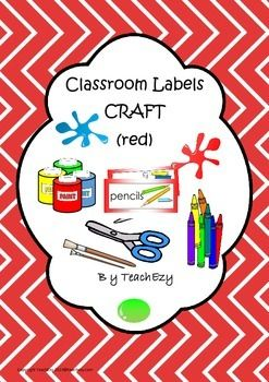 Labels for Craft Items Red
