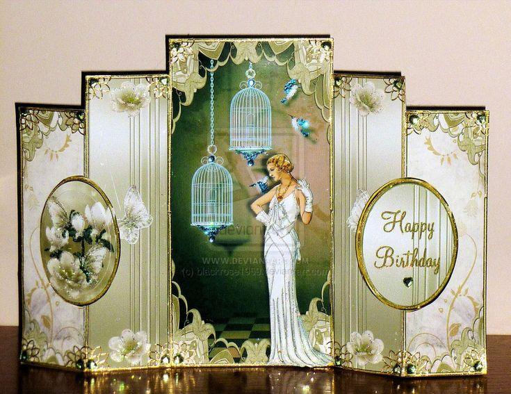 Art Deco Birthday Card Rita's by blackrose1959