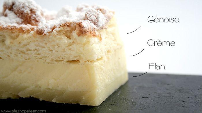 1番上はスポンジ生地、真ん中がカスタード、1番下がフラン。 1度で3つの食感が楽しめるお口も楽しいケーキです。
