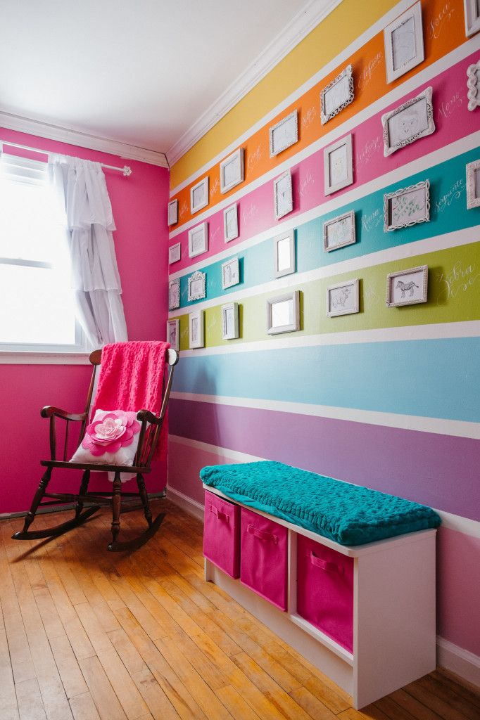project nursery colorful striped wall in latina nursery - Bright Color Bedroom Ideas