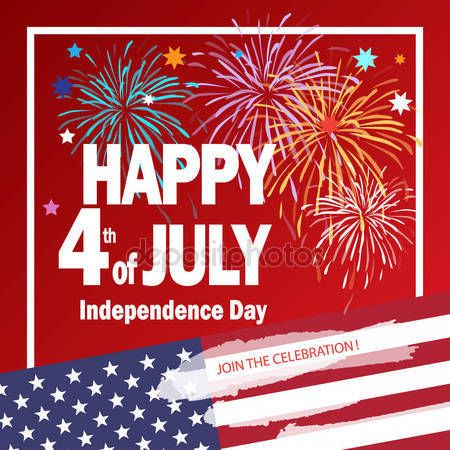 Download - Happy 4th of July independence day poster, greeting card. Congratulations lettering, banner for celebrate American Holiday, Memorial day, Labor Day. Festive background with fireworks in American flag color. Vector template. — Stock Illustration #158416264