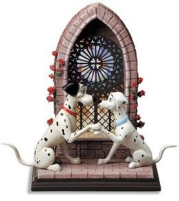 WDCC Disney Classics 101 Dalmatian Pongo and Perdita Going To The Chapel #WDCCDisneyClassics #Art. 2003 Gold Circle Dealer exclusive, limited edition sculpture. Pongo, Perdita and the Chapel Window (a three (3) piece set) are boxed together. Each sculpture bears a production mark. Numbered Limited Edition of 2,000.