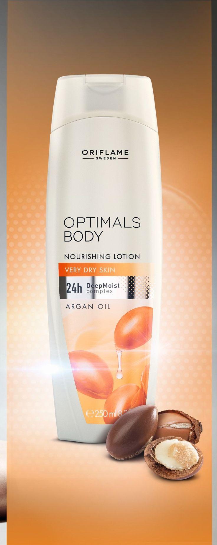 Optimals Body Nourishing Lotion - Argan Oil enthält den DeepMoist Komplex, der die Barrierefunktion der Haut nachahmt und eine außergewöhnliche 24-Std. Feuchtigkeitspflege ist. #arganöl #arganoil #lotion #Körperpflege #OptimalsBody #OriflameGermany