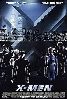 Poster shows a big X with the skyline of New York City in the background. In the foreground are the film's characters. The film's name is at the bottom.