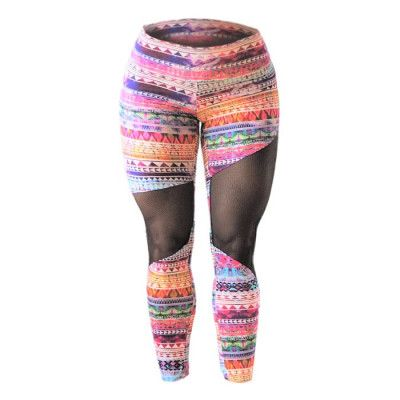 Dessa snygga leggings är tillverkade av ett kompressionsmaterial och har en spännande design med asymmetriskt meshtyg över benen, därav namnet