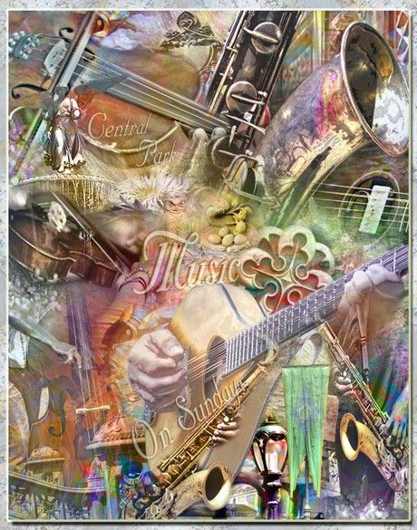 MUSIC IN THE PARK  CENTRAL PARK ARTISTIC by Artisticcollage, $90.00