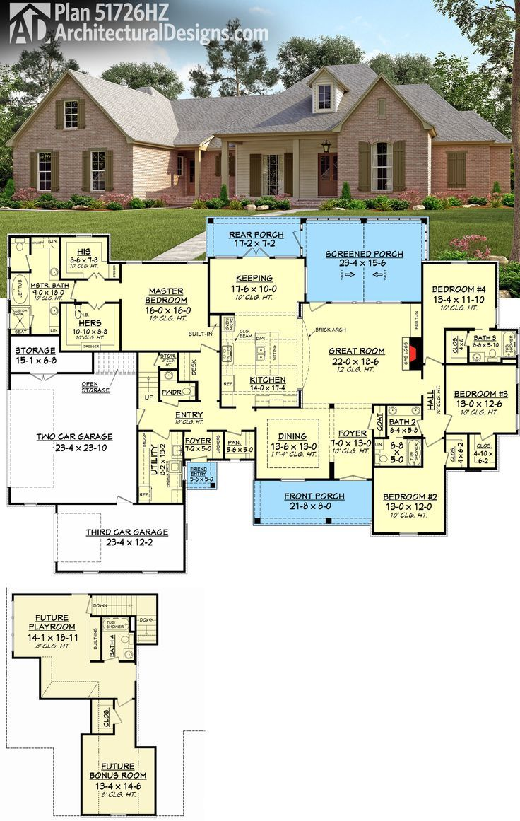 Plan 51726hz 4 bed french country with upstairs expansion Acadian floor plans